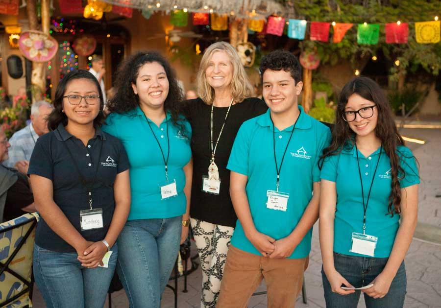 Barbara Manfrediz with Palapa Learning Center students. 2020 Donor Appreciation Event.